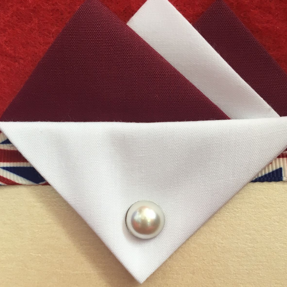 Burgundy and White Hankie With White Flap and Pin